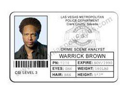 CREDENCIAL CSI LAS VEGAS AGENTE WARRICK BROWN