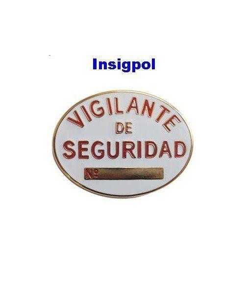 placa vigilante de seguridad metálica