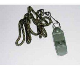 NO BALL WHISTLE. No ball. Includes chain and carabiner. Military green. With no ball works even in the rain. Decibels 120 dB.