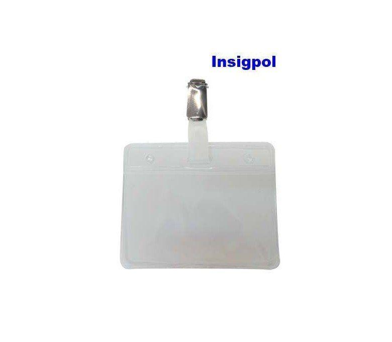 PORTA-CREDENCIALES PLÁSTICO TRANSPARENTE HORIZONTAL. Con pinza metálica. Medidas: 9 x 7.50 cms.