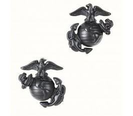 Paar Black Marine Corps Globe and Anchor Collar Device