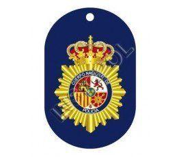 CHAPA IDENTIFICACIÓN CUERPO NACIONAL DE POLICÍA II. Medida: 5x3 cms. Incluye la cadena. Fabricada en aluminio inoxidable.